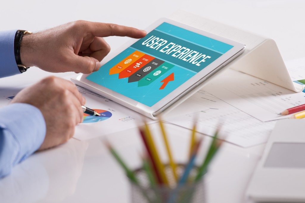 User experience being shown on a tablet
